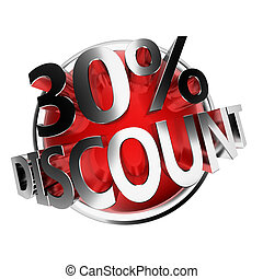 discount button - 30% - 3d rendered red discount button -...