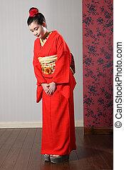 oriental, modelo, rojo, japonés, kimono, Reverencia