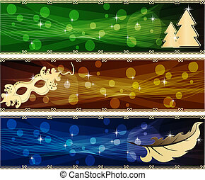 set of holiday banners