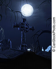 halloween poster - 3d rendered scene of a dark scary...