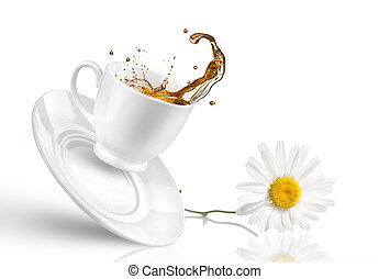 Splash of tea in the falling cup with flower isolated on...