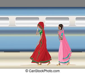 train station - an illustration of two traditionally dressed...