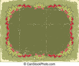 Vintage Christmas card for design with holly berry
