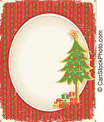 Christmas card background - Christmas cardVintage red green...