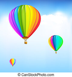 Colorful Hot Air Balloons - 3 Colorful Hot Air Balloons,...