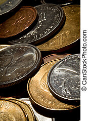 Close-up of a Pile of Canadian Coins - An extreme close-up...