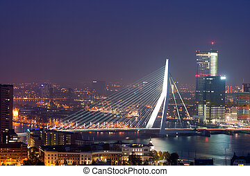 Rotterdam Erasmus bridge - Evening view on the Erasmus...