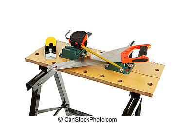 workbench - Work bench with clamp isolated on white...