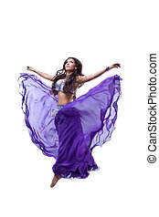 Beautiful girl  jump in dance with flying fabric