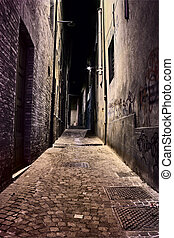 old town at night - italian alley at night - narrow dark...