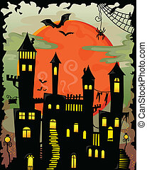 haunted castle - cartoon halloween haunted castle