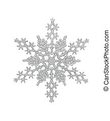 Silver Snowflake - Silver snowflake, isolated wclipping path...