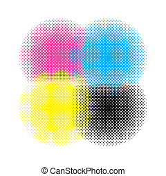 Cmyk Circle Vector - Cmyk circle texture on a white...