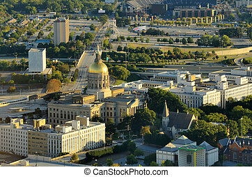 Aerial View of Atlanta - Georgia State Capitol Building in...