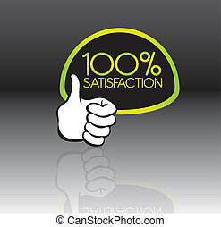 100 percent satisfaction - green and black 100 percent...