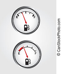 Dashboard gas gauge - silver and white dashboard gas gauge...