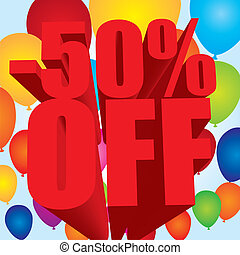 -50 percent off - red -50 percent off text over colorful...