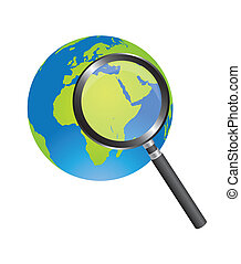 magnifying glass and earth