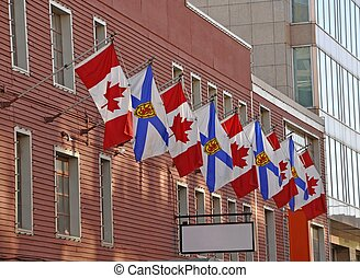 Canadian Flags - row of alternating Canadian National and...