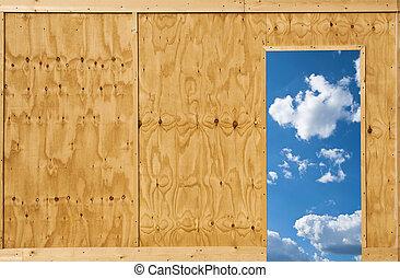 Open door to the sky, freedom concept