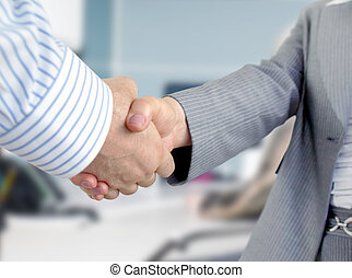 Business people shaking hands - Closeup of businessmen and...