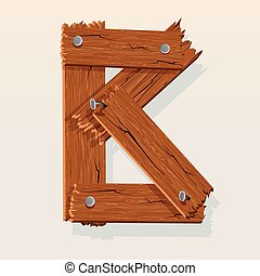 Letter B From vector Wooden Alphabet