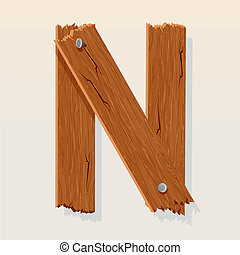 Letter N From vector Wooden Alphabet