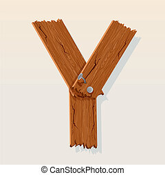 Letter Y From vector Wooden Alphabet