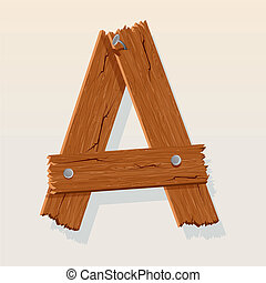 Letter A From vector Wooden Alphabet