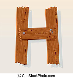 Letter H From vector Wooden Alphabet