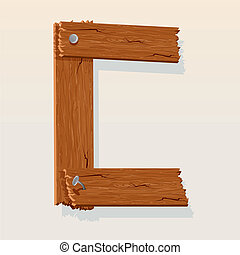 Letter C From vector Wooden Alphabet