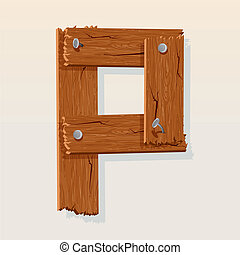 Letter P From vector Wooden Alphabet