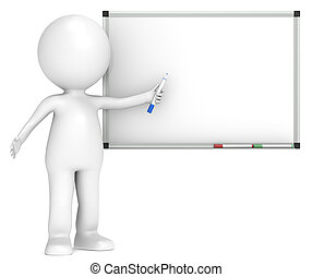 Whiteboard. - 3D little human character with a Blank...