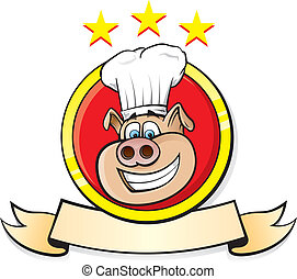 Pig Chef head - Vector Illustration of a logo restaurant