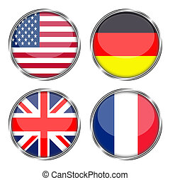 Flags of america, germany, great britain and france