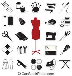 Cosendo, &, costurando, ícones