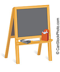 Easel Blackboard - Child\'s easel blackboard with box of...