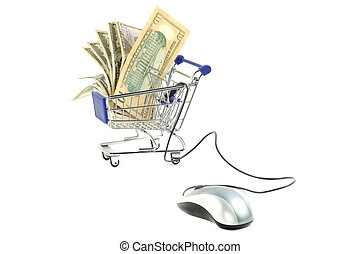 Online shopping - Shopping card with dollars and euro, on a...