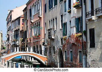 Canal with houses, Venice