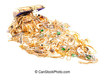 Lot of gold jewelry - Full box of a gold jewelry on a white...