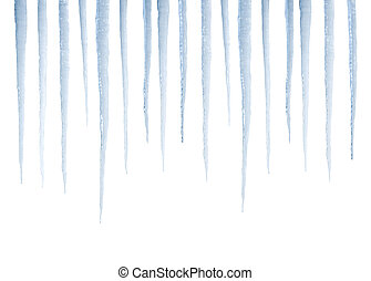 Real icicles isolated on white - Real photograph of isolated...