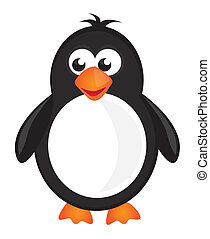 penguin cartoon - black,white and orange penguin isolate...