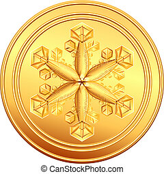 vector gold coin with snowflake