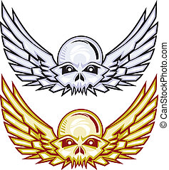 Winged Raider Skulls - Stylized gold and silver winged skull...