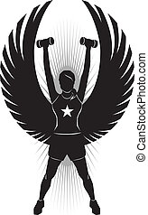 Fitness Angel - Silhouette of a woman with dumbells and...