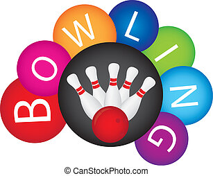 bowling - colorful bowling isolated over white background...