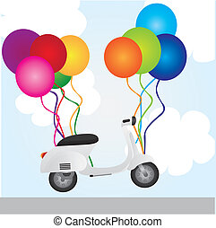 motorbike and balloons over sky background. vector