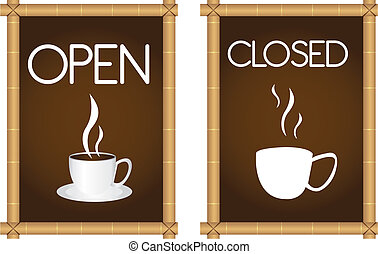coffee signs - brown coffee signs with coffe cup and bamboo...