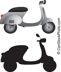 gray motorbike and silhouette motorbike isolated over white...