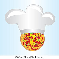 pizza with chef hat